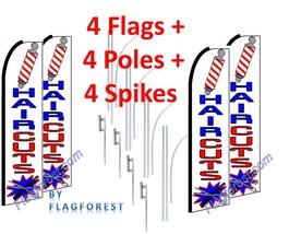 4 (four) HAIR CUTS wh/bl 15' SWOOPER #1 FEATHER FLAGS KIT with poles+spikes - $253.44