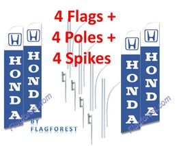 4 (four) HONDA blue 15' SWOOPER #3 FEATHER FLAGS KIT with poles+spikes - $253.44