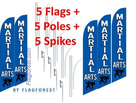 5 (five) MARTIAL ARTS bl/wh 15' SWOOPER #3 FEATHER FLAGS KIT - $283.19