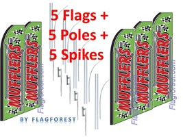 5 (five) MUFFLERS gr/red 15' SWOOPER #1 FEATHER FLAGS KIT with pole+spikes - $283.19