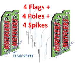 4 (four) MUFFLERS gr/red 15' SWOOPER #1 FEATHER FLAGS KIT with pole+spikes - $253.44