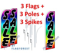 3 (three) SALE rainbow/blk/wh 15' SWOOPER #1 FEATHER FLAGS KIT with pole... - $222.74
