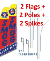 2 (two) SMOG CHECK red/bl 15' SWOOPER #3 FEATHER FLAGS KIT with poles+sp... - $148.49