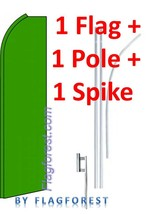 1 (one) SOLID GREEN green sleeve 15' SWOOPER #1 FEATHER FLAG KIT with po... - $82.50