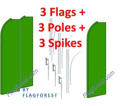 3 (three) SOLID GREEN green sleeve 15' SWOOPER #1 FEATHER FLAGS KIT with... - $222.74
