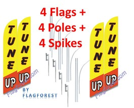 4 (four) TUNE UP 15' SWOOPER #3 FEATHER FLAGS KIT with poles+spikes - $253.44