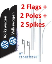 2 (two) VOLKSWAGEN black 15' SWOOPER #3 FEATHER FLAGS KIT with poles+spikes - $148.49
