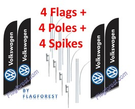 4 (four) VOLKSWAGEN black 15' SWOOPER #3 FEATHER FLAGS KIT with poles+sp... - $253.44