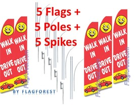 5 (five) WALK IN DRIVE OUT 15' SWOOPER #3 FEATHER FLAGS KIT with poles+s... - $283.19