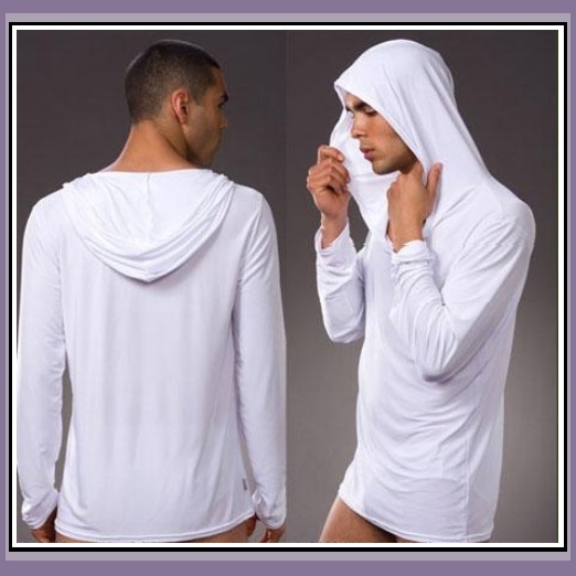 Luxury Soft Silk Hooded Long Sleeved Leisure Lounger White Brown Black or Gray