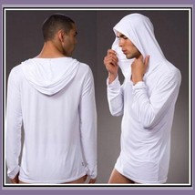 Luxury Soft Silk Hooded Long Sleeved Leisure Lounger White Brown Black o... - $16.95+