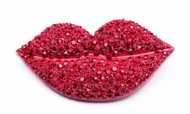 red lip brooch pin women girl fashion pin with crystal lip brooch jl09 - $19.99