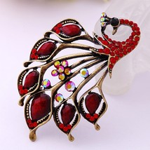 red peacock brooch pin women girl fashion pin w... - $16.99