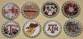 """Set of 8- """"Texas A&M Aggies"""" Flat Bottlecap Hairbows, Scrapbooking! For ... - $4.00"""