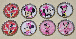 """Set of 8- """"MINNIE MOUSE"""" Regular or Flat Bottlecap HAIRBOWS! For birthda... - $4.00"""