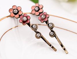 Pink flower hairpin women girl fashion bobby pin crystal hairpin bobby p... - $9.99