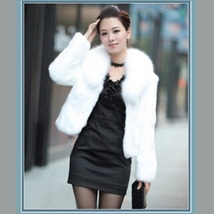 Luxurious White Mink Hair Faux Fur Jacket Wide Collar Short Waist Coat