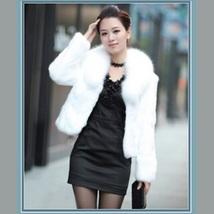 Luxurious White Mink Hair Faux Fur Jacket Wide Collar Short Waist Coat  image 1