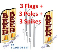 3 (three) BEER br/wh 15' WINDLESS SWOOPER FLAGS KIT - $247.49