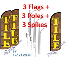 3 (three) TILE 15' WINDLESS SWOOPER FLAGS KIT - $247.49