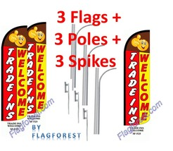 3 (three) TRADE INS WELCOME red/yel 15' WINDLESS SWOOPER FLAGS KIT - $247.49