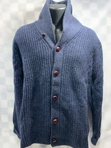 LAND'S END Cardigan Sweater Navy Blue Collar Women's Size M (38-40) - $19.79