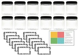 Clear 4 oz Plastic Jar with Black Dome Lid 12 pk with Labels - $20.68