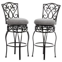 Classic Scroll Black Metal 30 inch Curved Back Bar Stools Bar Height wit... - €191,32 EUR