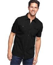 Alfani Big and Tall Solid Slub Coat Front Shirt BLACK 3XLTNWT $50 - $19.99