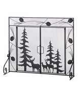 Fireplace doors screen w evergreens deer and pi... - $49.99