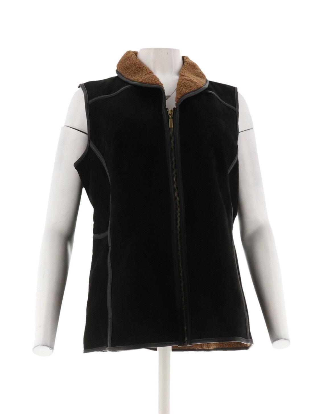 Denim & Co. ante Sherpa Chaleco Negro M NUEVO A270186