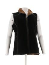 Denim & Co. ante Sherpa Chaleco Negro M NUEVO A270186 - $101.21