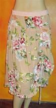 Victoria's Secret Pamela Brown Lined Pink & Beige Cotton Long Floral Skirt 8 - $17.88