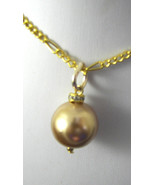 CHAMPAGNE Pearl Bridal Necklace  Swarovski crystal Gold plate Chain  HAN... - $20.99