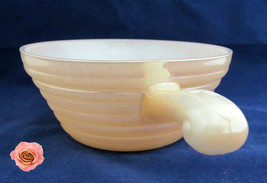Ribbed Fire King Iridescent Peach Gold Orange Luster Serve Bowl French Casserole - $6.00