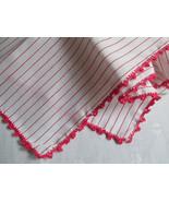 Cotton Handkerchief Hankie Hanky White Red St... - $10.00