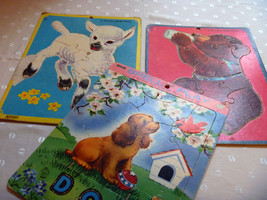Inlaid Puzzles Vintage Animals Preschool Spell and Play Set Three by Saa... - $20.00