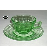Block Optic Green Cup and Saucer Hocking - $11.95