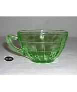 Block Optic Green Cup Round Plain Handle Style Hocking - $5.95