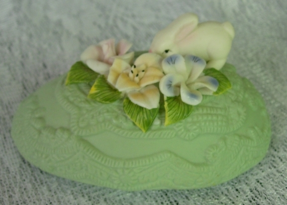 Adorable Green Easter Egg Trinket Box with Bunny and Ornate design