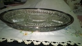 Vintage Oval Leonard Silver-plated Tray with Gl... - $25.50