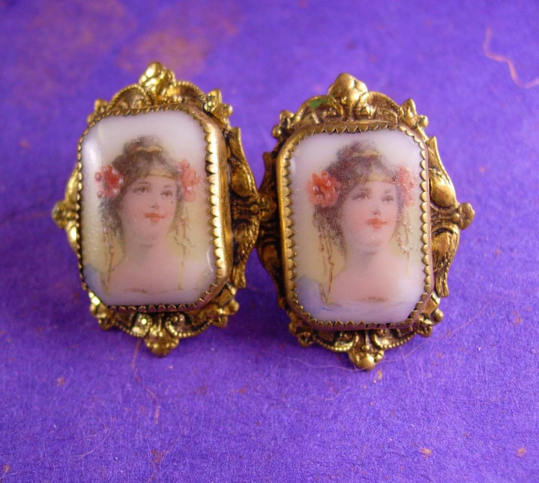 Primary image for Antique Earrings Neoclassical PORTRAIT Victorian screw on porcelain womans face