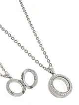 Rhinestone Floating Charm Magnetic Locket Holder Necklace Silver Tone - £14.83 GBP
