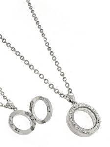 Rhinestone Floating Charm Magnetic Locket Holder Necklace Silver Tone