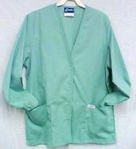 Crest Scrub Jacket V Neck Sage Green Scrubs Warm Up Jacket Snap Front XS... - $16.46
