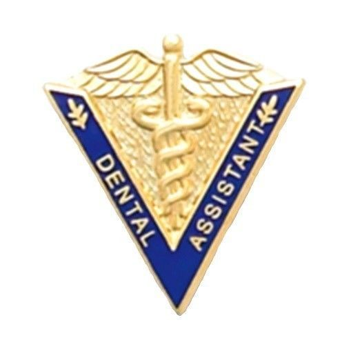 Primary image for Dental Assistant Lapel Pin Medical Graduation Caduceus Blue V Shape 5017 New