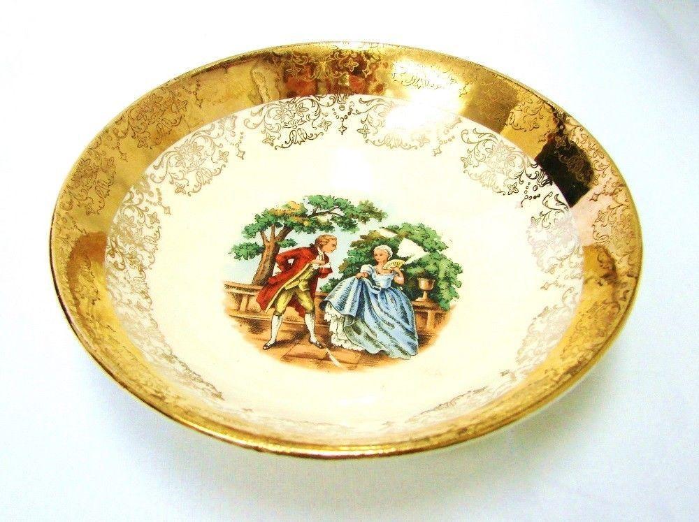 Crest O Gold Sabin 22K Gold Colonial Couple Fruit Berry Dessert Bowl Vintage