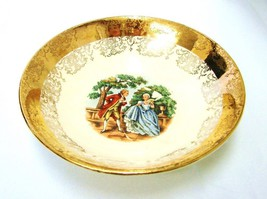 Crest O Gold Sabin 22K Gold Colonial Couple Fruit Berry Dessert Bowl Vin... - $24.22