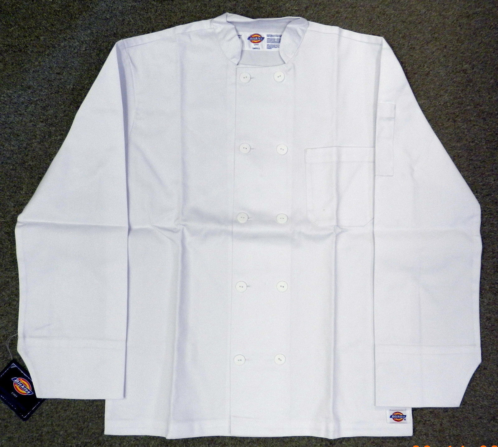 Dickies CW070305C Restaurant Button Front White Uniform Chef Coat Jacket 4XL New