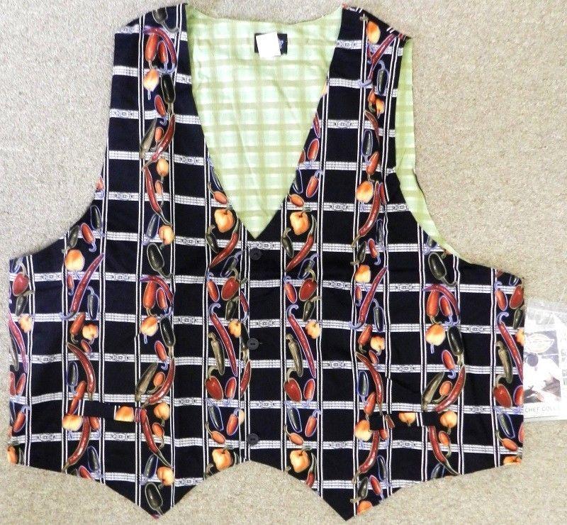 Dickies Chef Server Restaurant Uniform Black Chili Pepper Vest CW110101 XL New